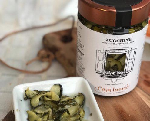 Zucchini in glass jars